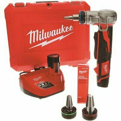 M12 12-VOLT LITHIUM-ION CORDLESS PROPEX EXPANSION TOOL KIT WITH (2) 1.5AH BATTERIES, (3) EXPANSION HEADS AND HARD CASE - MILWAUKEE PART #: 2432-22