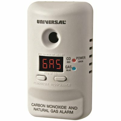 PLUG-IN, 2-IN-1 CARBON MONOXIDE AND NATURAL GAS DETECTOR DIGITAL DISPLAY, 9V BATTERY BACKUP, MICROPROCESSOR INTELLIGENCE - UNIVERSAL SECURITY INSTRUMENTS PART #: MCND401B