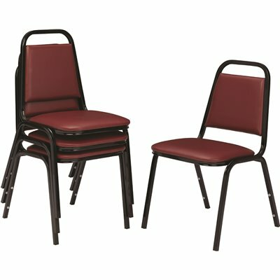 NATIONAL PUBLIC SEATING 9100 SERIES PLEASANT BURGUNDY VINYL UPHOLSTERED STACK CHAIR (4-PACK)