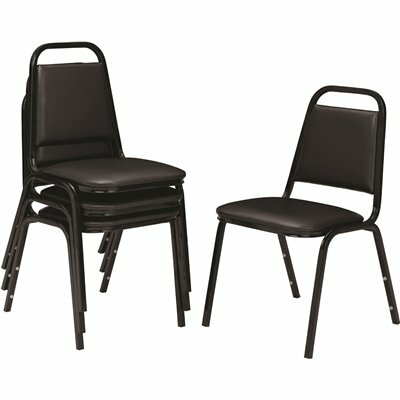 NATIONAL PUBLIC SEATING 9100 SERIES PANTHER BLACK VINYL UPHOLSTERED STACK CHAIR (4-PACK)