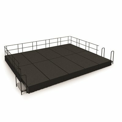 NATIONAL PUBLIC SEATING NPS 16 FT. X 20 FT. STAGE PACKAGE, 16 IN. H GREY CARPET SHIRRED PLEAT BLACK SKIRTING