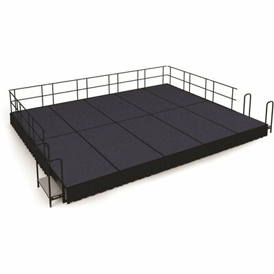 NATIONAL PUBLIC SEATING NPS 16 FT. X 20 FT. STAGE PACKAGE, 16 IN. H BLUE CARPET SHIRRED PLEAT BLACK SKIRTING