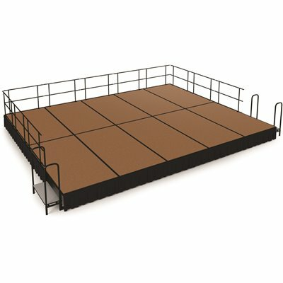 NATIONAL PUBLIC SEATING NPS 16 FT. X 20 FT. STAGE PACKAGE, 16 IN. H HARDBOARD FLOOR SHIRRED PLEAT BLACK SKIRTING