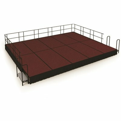 NATIONAL PUBLIC SEATING NPS 16 FT. X 20 FT. STAGE PACKAGE, 16 IN. H RED CARPET SHIRRED PLEAT BLACK SKIRTING