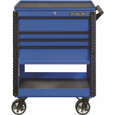 EXTREME TOOLS PROFESSIONAL 33 IN. DELUXE 4-DRAWER TOOL UTILITY CART WITH BUMPERS IN BLUE