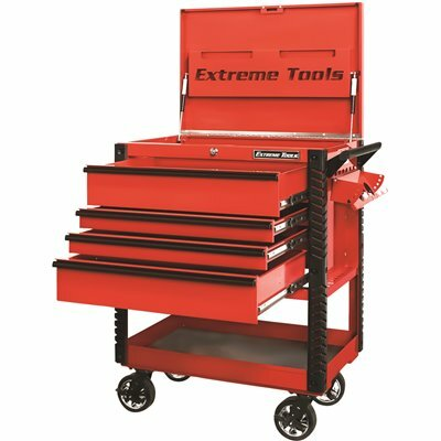 EXTREME TOOLS PROFESSIONAL 33 IN. DELUXE 4-DRAWER TOOL UTILITY CART WITH BUMPERS IN RED