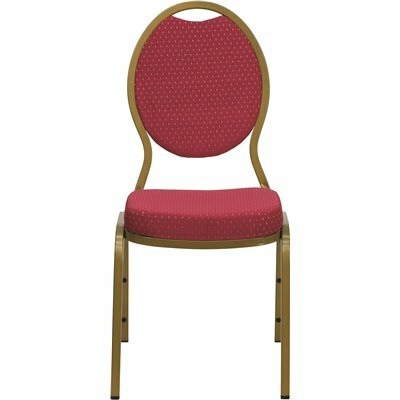 CARNEGY AVENUE BURGUNDY PATTERNED FABRIC/GOLD FRAME STACK CHAIR