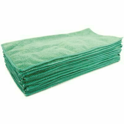 RENOWN 16 IN. X 16 IN. PREMIUM MICROFIBER CLOTH IN GREEN (12-PACK)