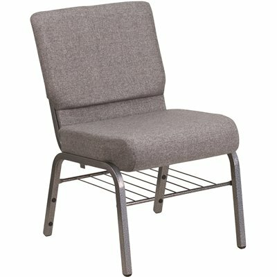 CARNEGY AVENUE GRAY FABRIC/SILVER VEIN FRAME STACK CHAIR