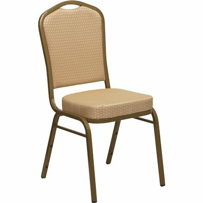 CARNEGY AVENUE BEIGE PATTERNED FABRIC/GOLD FRAME STACK CHAIR