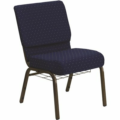 CARNEGY AVENUE NAVY BLUE DOT PATTERNED FABRIC/GOLD VEIN FRAME STACK CHAIR