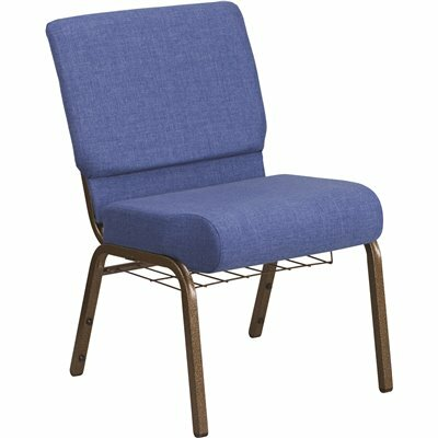 CARNEGY AVENUE BLUE FABRIC/GOLD VEIN FRAME STACK CHAIR