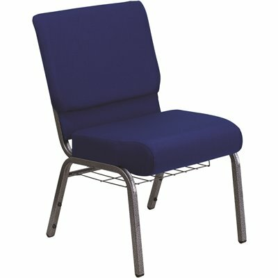 CARNEGY AVENUE NAVY BLUE FABRIC/SILVER VEIN FRAME STACK CHAIR