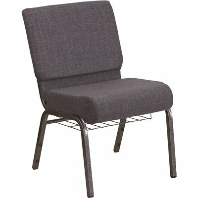 CARNEGY AVENUE DARK GRAY FABRIC/SILVER VEIN FRAME STACK CHAIR