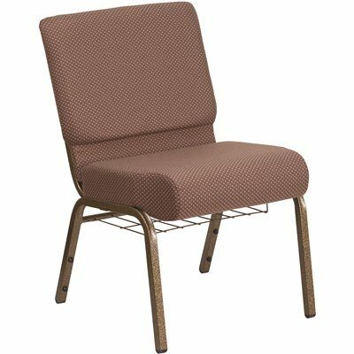CARNEGY AVENUE BROWN DOT FABRIC/GOLD VEIN FRAME STACK CHAIR