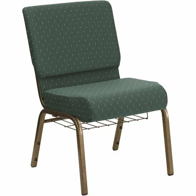 CARNEGY AVENUE HUNTER GREEN DOT PATTERNED FABRIC/GOLD VEIN FRAME STACK CHAIR
