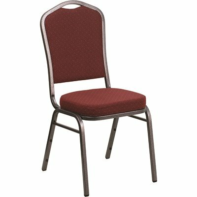CARNEGY AVENUE BURGUNDY PATTERNED FABRIC/SILVER VEIN FRAME STACK CHAIR