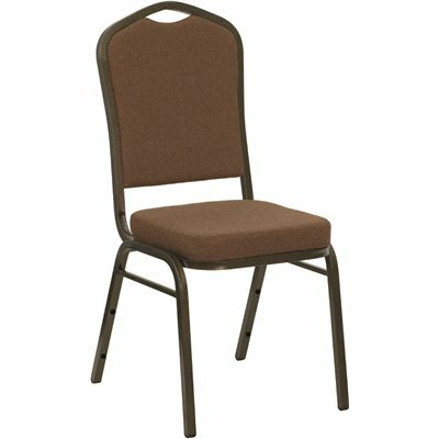 CARNEGY AVENUE COFFEE FABRIC/GOLD VEIN FRAME STACK CHAIR