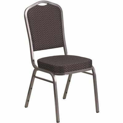 CARNEGY AVENUE BLACK PATTERNED FABRIC/SILVER VEIN FRAME STACK CHAIR