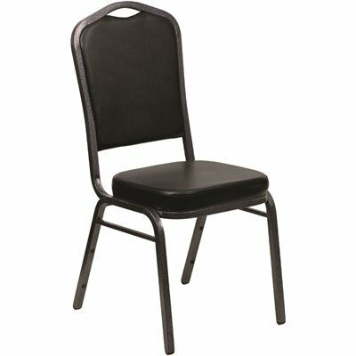 CARNEGY AVENUE BLACK VINYL/SILVER VEIN FRAME STACK CHAIR