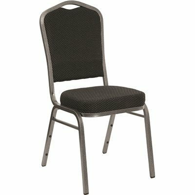 CARNEGY AVENUE BLACK DOT PATTERNED FABRIC/SILVER VEIN FRAME STACK CHAIR