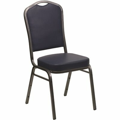 CARNEGY AVENUE NAVY VINYL/SILVER VEIN FRAME STACK CHAIR