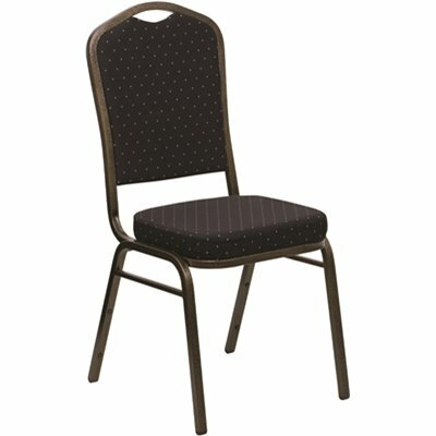 CARNEGY AVENUE BLACK PATTERNED FABRIC/GOLD VEIN FRAME STACK CHAIR