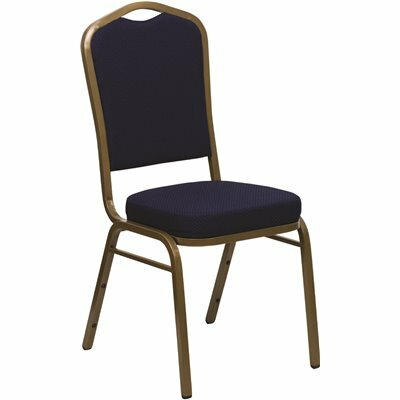 CARNEGY AVENUE NAVY BLUE PATTERNED FABRIC/GOLD FRAME STACK CHAIR
