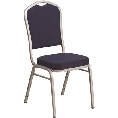 CARNEGY AVENUE NAVY FABRIC/SILVER FRAME STACK CHAIR