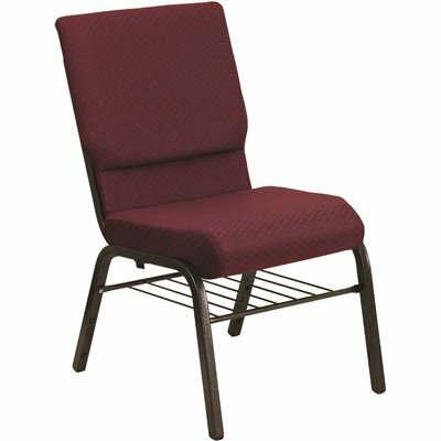 CARNEGY AVENUE BURGUNDY PATTERNED FABRIC/GOLD VEIN FRAME STACK CHAIR