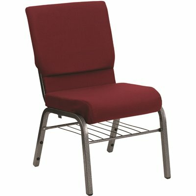 CARNEGY AVENUE BURGUNDY FABRIC/SILVER VEIN FRAME STACK CHAIR
