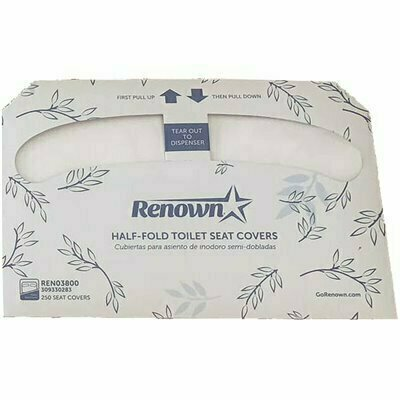 RENOWN HALF-FOLD TOILET SEAT PAPER COVER-VIRGIN (250-CASE)