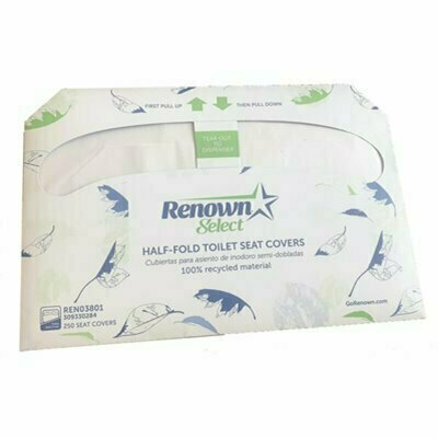 RENOWN HALF-FOLD TOILET SEAT PAPER COVER-RECYCLED