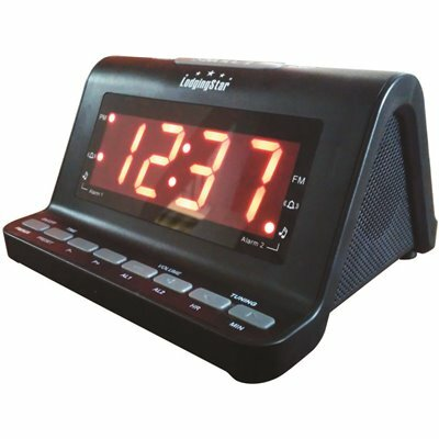 LODGING STAR ALARM CLOCK RADIO, 1.2 IN. RED LED DISPLAY WITH USB CHARGER