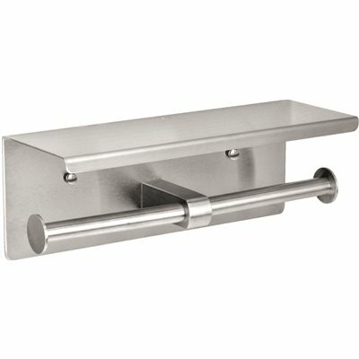 ALPINE INDUSTRIES DOUBLE POST TOILET PAPER HOLDER WITH SHELF STORAGE RACK IN BRUSHED STAINLESS STEEL