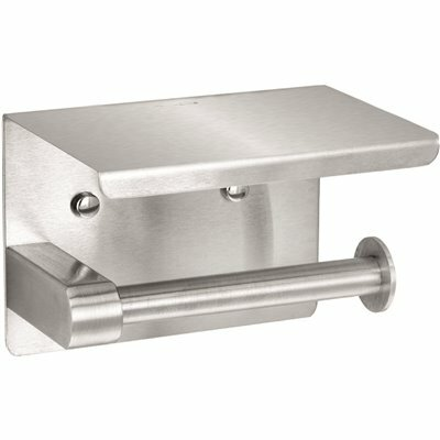 ALPINE INDUSTRIES SINGLE POST TOILET PAPER HOLDER WITH SHELF STORAGE RACK IN BRUSHED STAINLESS STEEL