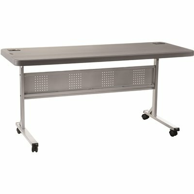 NATIONAL PUBLIC SEATING 60 IN. CHARCOAL PLASTIC FOLDING FLIP-N-STORE TRAINING TABLE