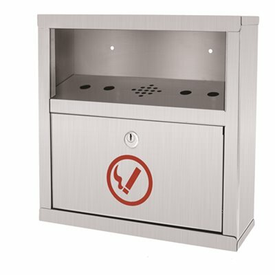 ALPINE INDUSTRIES STAINLESS STEEL WALL MOUNTED EASY-CLEAN CIGARETTE DISPOSAL OUTDOOR ASHTRAY