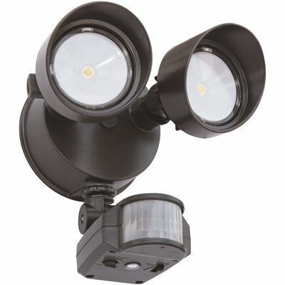 LITHONIA LIGHTING CONTRACTOR SELECT OLF 25-WATT 180 DEGREE BRONZE MOTION ACTIVATED OUTDOOR INTEGRATED LED 2-HEAD FLOOD LIGHT