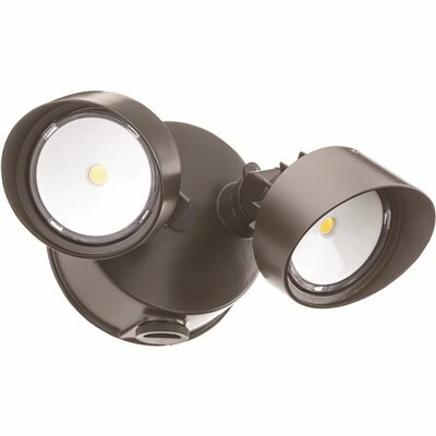 LITHONIA LIGHTING CONTRACTOR SELECT OLF 25-WATT BRONZE OUTDOOR INTEGRATED LED DUSK TO DAWN FLOOD LIGHT WITH 2-HEADS