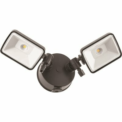LITHONIA LIGHTING CONTRACTOR SELECT OLF 25-WATT BRONZE DUSK TO DAWN INTEGRATED LED OUTDOOR 2-SQUARE HEAD FLOOD LIGHT