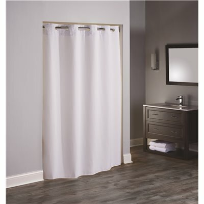 HOOKLESS BOUTIQUE 77 IN. L REFLECTION WHITE SHOWER CURTAIN WITH SNAP IN LINER (CASE OF 12)