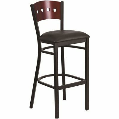 FLASH FURNITURE 32 IN. MAHOGANY WOOD BACK/BLACK VINYL SEAT/BLACK METAL FRAME BAR STOOL