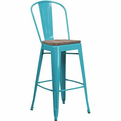 FLASH FURNITURE 30 IN. CRYSTAL TEAL-BLUE BAR STOOL