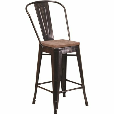 FLASH FURNITURE 24.25 IN. BLACK-ANTIQUE GOLD BAR STOOL