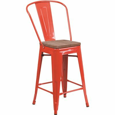 FLASH FURNITURE 24.25 IN. RED BAR STOOL