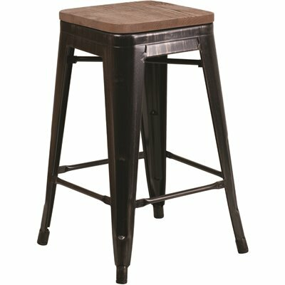 FLASH FURNITURE 24 IN. BLACK-ANTIQUE GOLD BAR STOOL