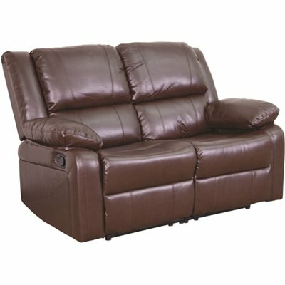 CARNEGY AVENUE BROWN LEATHER LOVESEAT