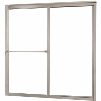 FOREMOST TIDES 56 IN. TO 60 IN. W X 58 IN. H FRAMED SLIDING BATHTUB DOOR IN BRUSHED NICKEL WITH RAIN GLASS