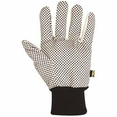 CUSTOM LEATHERCRAFT LARGE COTTON CANVAS WORK GLOVES WITH PCV GRIPPER DOTS (1-PAIR) - CUSTOM LEATHERCRAFT PART #: 2006